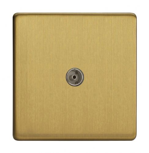 Varilight XDB8S Screwless Brushed Brass 1 Gang Co-Axial TV Socket